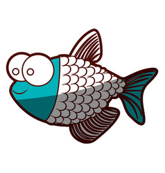 Aquamarine silhouette of fish with big eyes and vector
