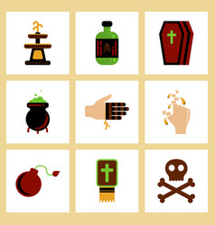 Assembly flat icons halloween symbols vector