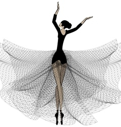 Ballet girl in black vector