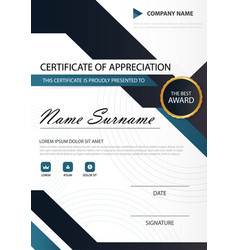 Blue black elegance vertical certificate with vector