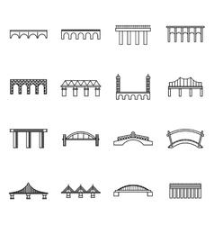 Bridge set icons thin line style vector image