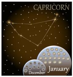 Calendar of the zodiac sign Capricorn vector image vector image