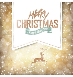 christmas deer on golden background vector image vector image