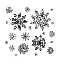 Christmas snowflakes collection circle ornament vector