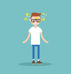 Dizziness conceptual young nerd with stars vector