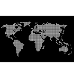 Dotted World Map White on Black Background vector image vector image