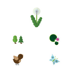 Flat icon ecology set of floral bird lotus and vector
