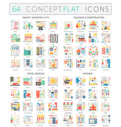 Infographics concept icons of smart city building vector