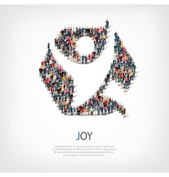 Joy people sign 3d vector