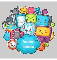 Kawaii gadgets social media items doodles with vector