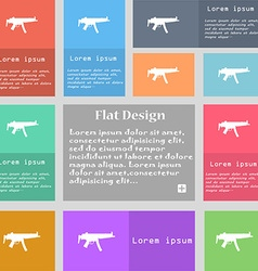 Machine gun icon sign set of multicolored buttons vector