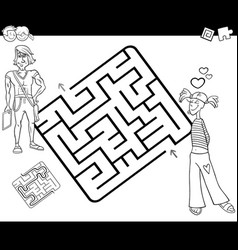 Maze activity game with young couple vector