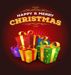 merry christmas background with stack of gifts vector image
