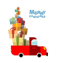 Merry Christmas Car and lots of gift box Truck vector image vector image