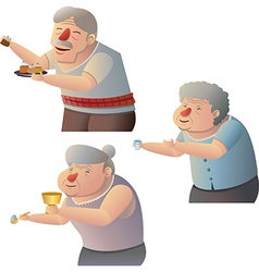 Old people give alms vector image vector image