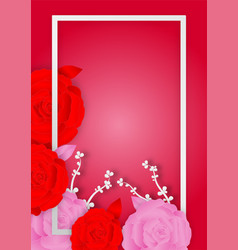 Paper art style of rose flowers and frame on pink vector