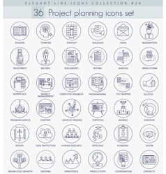 Project planning outline icon set elegant vector