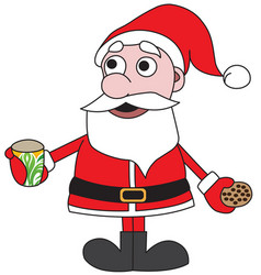santa claus with cup of milk vector image vector image