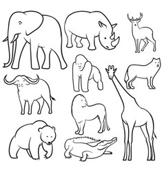 set of wild animal sketches vector image
