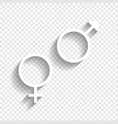 Sex symbol sign white icon with soft vector