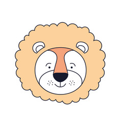Silhouette color sections face male lion animal vector