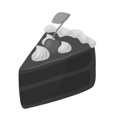 Slice of chocolate cake icon in monochrome style vector image