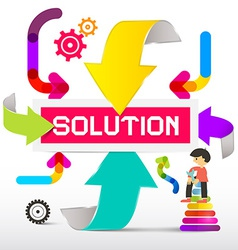 Solution title with colorful paper arrows vector