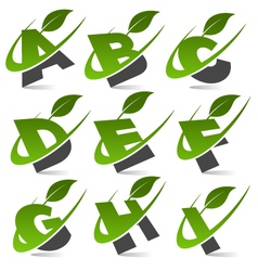 Swoosh green alphabet logo set1 vector