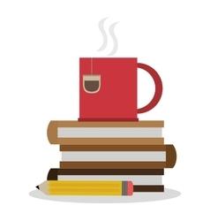Tea mug pencil and books design vector