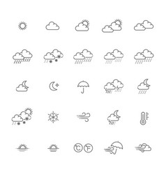 Weather forecast - outline web icon set vector