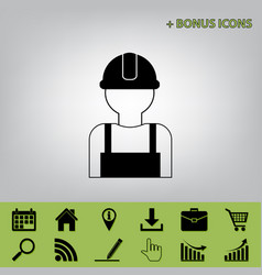Worker sign black icon at gray background vector