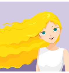 Young woman with long curly blonde hair vector