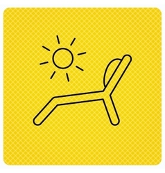 Deck chair icon beach chaise longue sign vector