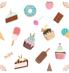 Birthday seamless pattern with different sweets vector image