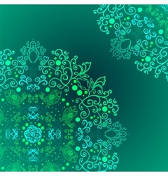 Emerald floral background ethnic ornament vector