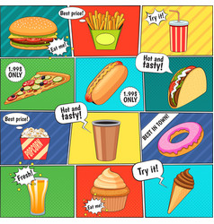 Fast food comic panels collection poster vector