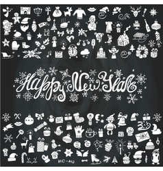 New year greeting cardIcons silhouetteChalkboard vector image