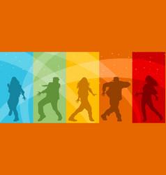Five dancing teenagers vector