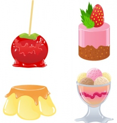 Set of cute desserts vector