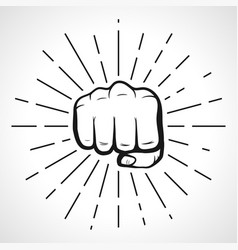 Fist with sunbursts hand silhouette vector