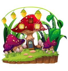 Mushroom house in garden vector