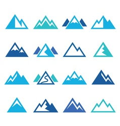 Mountain blue icons set vector