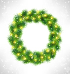 Christmas wreath with yellow glassy led christmas vector