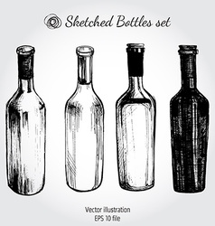Wine bottle - sketch and vintage vector