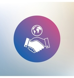 World handshake sign icon amicable agreement vector
