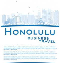 Outline honolulu hawaii skyline vector