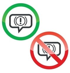 Alert message permission signs vector
