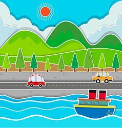 Road along the river scene vector