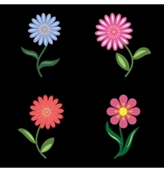 Flower icons set chamomile daisy floral symbols vector