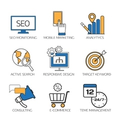 Search engine optimization technology outline vector